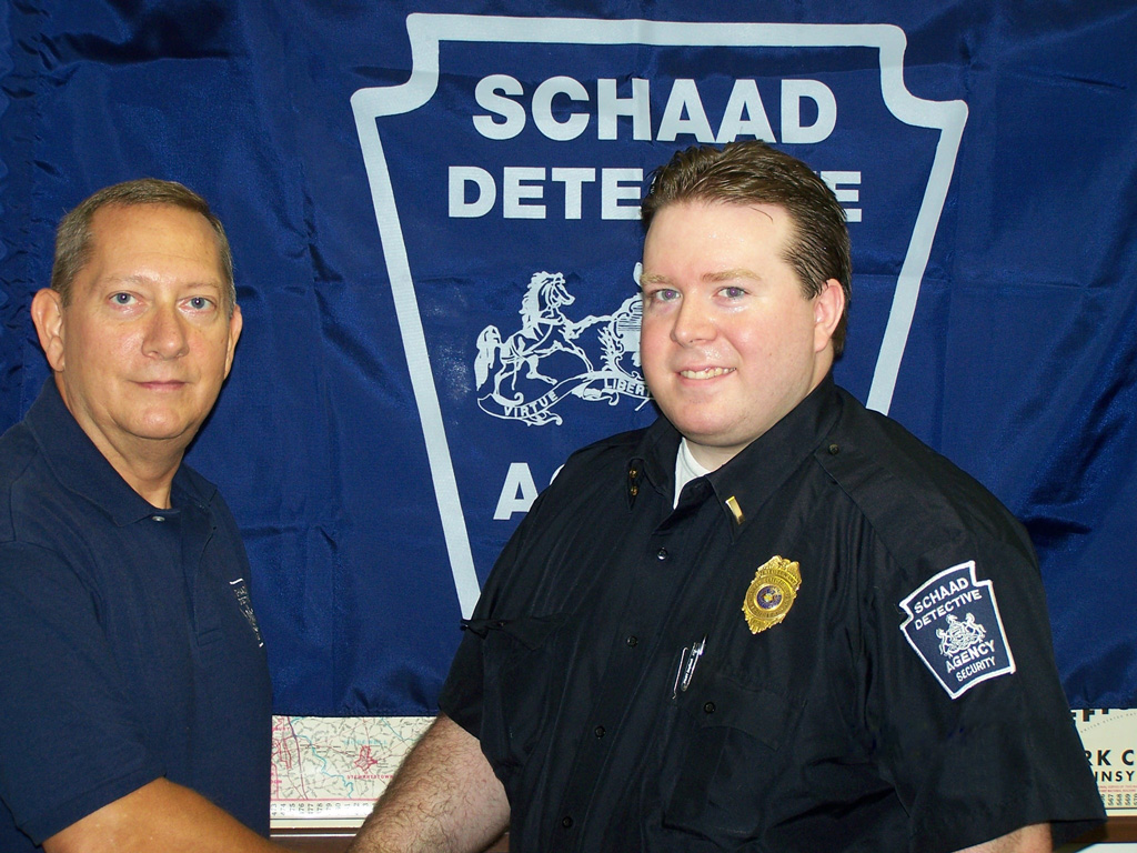 Schaad Detective personnel have two uniforms depending on the assignment. Security officer police type uniform or business appearance with navy blazer and tie.